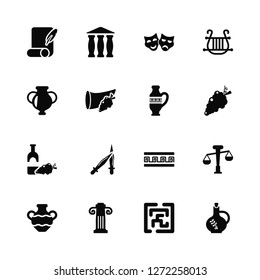 Vector Illustration Of 16 Icons. Editable Pack Letter Quill, Maze, Jonic Column, Amphora, Balance, Olive Oil, Wine, Amphora