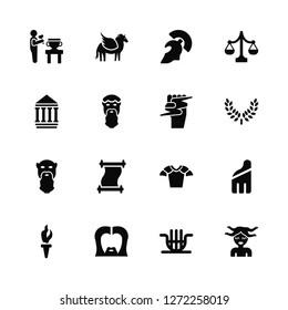 Vector Illustration Of 16 Icons. Editable Pack Sculpture, Lyre, Zeus, Torch, Robe, Medusa, Parthenon, Socrates, Zeus