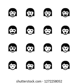 Vector Illustration Of 16 Icons. Editable Pack Laughing, Joyful, Smile, Sceptic, Angry, Sad, Winking, In love, Sad