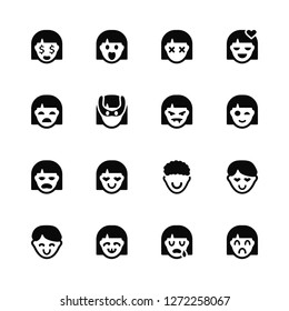 Vector Illustration Of 16 Icons. Editable Pack Rich, Crying, Dumb, Happy, In love, Sad, Girl, Miserly, Vampire