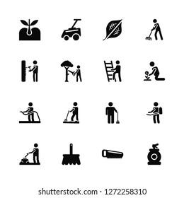 Vector Illustration Of 16 Icons. Editable Pack Sprout, Saw, Rak, Gardener, Spraying, Sprayer, Hammering, Hose, Ladder