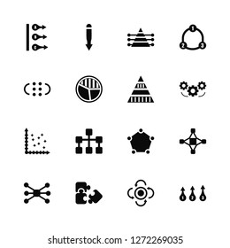 Vector Illustration Of 16 Icons. Editable Pack Abc, Update, Puzzle, Connections, Interconnected, Numbe, Dots, Scatter, Pyramid chart
