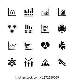 Vector Illustration Of 16 Icons. Editable Pack Bar chart, Pyramid Diagram, Puzzle, Chart, Line chart