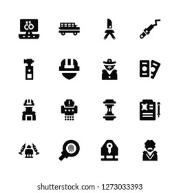 Vector Illustration Of 16 Icons. Editable Pack Computer, Key card, Fingerprint, Drugs, Death certificate, Judge, Pepper spray, Swat, Sheriff