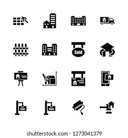 Vector Illustration Of 16 Icons. Editable Pack Construction, Paint roll, For rent, sale, Support, Juridical, Fence, Slides, Sold