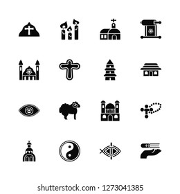 Vector Illustration Of 16 Icons. Editable Pack Pope, Christianity, Taoism, Church, Cross, Faith, Synagogue, God, Taoism