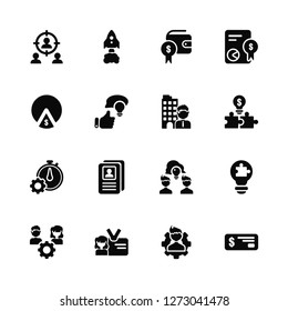 Vector Illustration Of 16 Icons. Editable Pack Focus, Man, ID, Resource, Solution, Check, Market, Timer, Leader