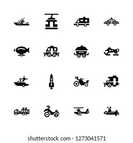 Vector Illustration Of 16 Icons. Editable Pack Boat, Helicopter, Motorcycle, Fire truck, Caravan, Submarine, Zeppelin, Yatch, Wagon