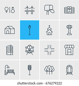 Vector Illustration Of 16 Infrastructure Icons. Editable Pack Of Subway, Semaphore, Bench And Other Elements.