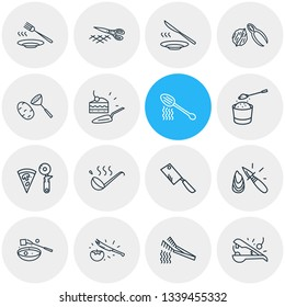 Vector illustration of 16 kitchenware icons line style. Editable set of pizza slicer, oyster knife, fondue fork and other icon elements.