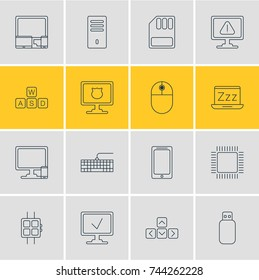 Vector Illustration Of 16 Laptop Icons. Editable Pack Of Qwerty Board, Storage, Keypad And Other Elements.
