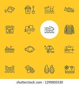 Vector illustration of 16 maritime icons line style. Editable set of canoe, sand bucket, flatfish icon elements.