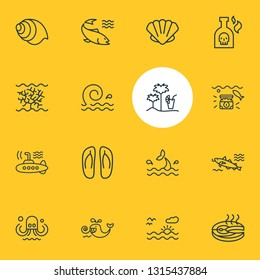 Vector illustration of 16 nautical icons line style. Editable set of cod fish, fish steak, cetacean and other icon elements.