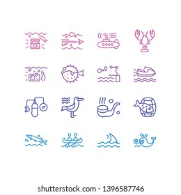 Vector illustration of 16 naval icons line style. Editable set of underwear photos, harpoon gun, fin and other icon elements.