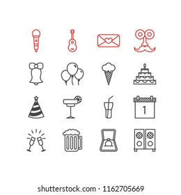 Vector illustration of 16 party icons line style. Editable set of wineglasses, sorbet, mustache and other icon elements.