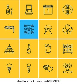 Vector Illustration Of 16 Party Icons. Editable Pack Of Goblet, Gift, Date Block And Other Elements.