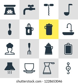 Vector illustration of 16 restaurant icons. Editable set of sink, ladle, kettle and other icon elements.