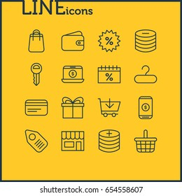 Vector Illustration Of 16 Trading Icons. Editable Pack Of Sales, Trading, Buy And Other Elements.