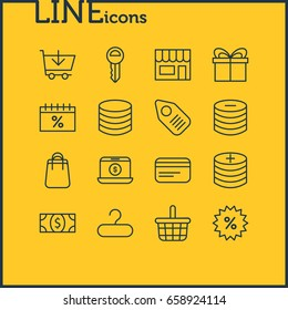 Vector Illustration Of 16 Trading Icons. Editable Pack Of Coins, Sales, Plus And Other Elements.