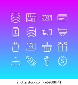 Vector Illustration Of 16 Trading Icons. Editable Pack Of Shopping, Payment, Tag And Other Elements.