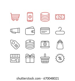 Vector Illustration Of 16 Trading Icons. Editable Pack Of Money, Advertising, Pocketbook And Other Elements.