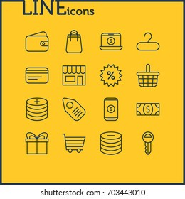Vector Illustration Of 16 Trading Icons. Editable Pack Of Sales, Pottle, Shopping And Other Elements.