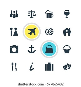 Vector Illustration Of 16 Travel Icons. Editable Pack Of Masks, Briefcase, Cafe And Other Elements.