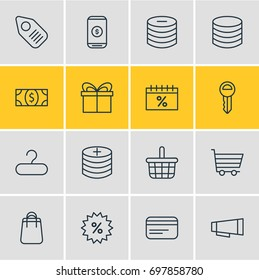 Vector Illustration Of 16 Wholesale Icons. Editable Pack Of Money, Minus, Shopping And Other Elements.