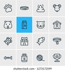 Vector illustration of 16 zoo icons line style. Editable set of hamster, pet poo, collar and other icon elements.