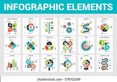 Vector illustration of 18 business infographic elements