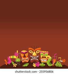 A vector illustration of 1960s retro inspired cute hawaiian luau party tiki theme with dark background copy space above.