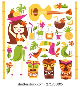 A vector illustration of 1960s retro inspired cute hawaiian luau party design elements set. Included in this set:- hawaiian girl, cocktails, coconut, pineapple, ukelele, tropical birds, tiki statues.