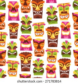 A vector illustration of 1960s retro inspired cute hawaiian luau party tiki statues seamless pattern background.