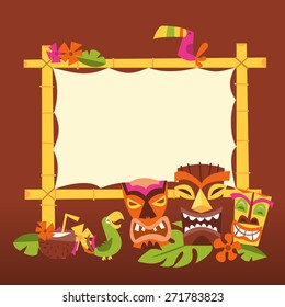 A vector illustration of 1960s retro inspired cute hawaiian luau party blank bamboo sign with tiki statues and tropical birds.
