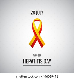 Vector illustration with 2 color ribbon on light background. 28 July World Hepatitis Day