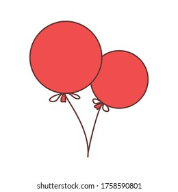 Vector illustration of  2 red balloons with ribbon