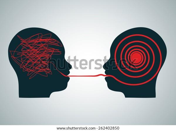 Ilustración vectorial de 2 cabezas de perfil de silueta cara a cara, una con garabatos y la segunda con laberinto de laberinto rojo derecho. Símbolo de concepto de problema de proceso de descodificación y comprensión