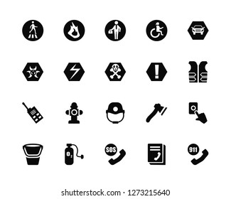 Vector Illustration Of 20 Icons. Editable Pack Pedestrian, Phonebook, Sos, Oxygen, Water bucket, Car, Warning, Firefighter helmet, Walkie talkie, Electricity, Working