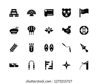 Vector Illustration Of 20 Icons. Editable Pack Forbidden city, Shuriken, Tonfa, Nunchaku, Shoe, China, Sandals, Spike, Lantern, Silk