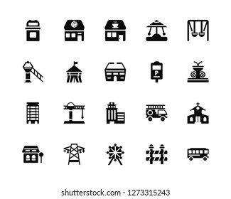 Vector Illustration Of 20 Icons. Editable Pack Bin, Barrier, Ferris wheel, Electric tower, Bus stop, Swing, Parking meter, Skyscrapper, Apartment, Circus tent, Coffee shop