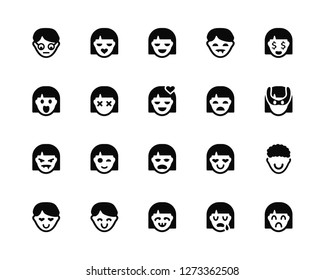 Vector Illustration Of 20 Icons. Editable Pack Geek, Crying, Dumb, Happy, In love, Rich, Girl, Miserly, Vampire, Stunned, Happy