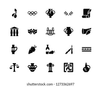 Vector Illustration Of 20 Icons. Editable Pack Olive, Maze, Jonic Column, Amphora, Balance, Letter Quill, Wine, Theater Masks, Broken Amphora