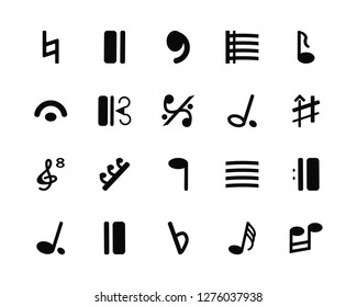 Vector Illustration Of 20 Icons. Editable Pack Natural, Thirty second note, Flat, Bold double bar line, Quarter Eighth Half Octave clef, Alto clef