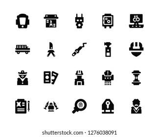 Vector Illustration Of 20 Icons. Editable Pack Shield, Key card, Fingerprint, Drugs, Death certificate, Computer, Pepper spray, Swat, Sheriff, Butterfly knife, Electroshock weapon