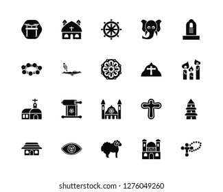 Vector Illustration Of 20 Icons. Editable Pack Shinto, Monastery, Lamb, God, Commandments, Pope, Synagogue, Holy scriptures, Buddhism