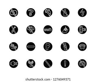 Vector Illustration Of 20 Icons. Editable Pack No photo, Warning, Prohibition, wifi, sound, High voltage, Laser, Parking, drugs, insects, water