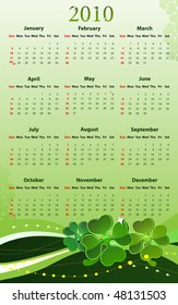 Vector illustration of 2010 calendar for St. Patricks Day, starting from Sundays