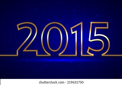 Vector illustration of 2015 new year gold and blue greeting billboard with gold wire