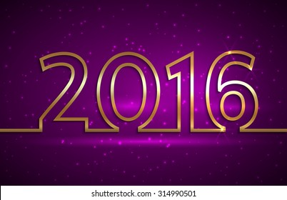 Vector illustration of 2016 new year gold and purple greeting billboard with gold wire