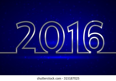 Vector illustration of 2016 new year  greeting billboard with silver wire on blue background
